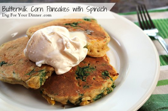 Buttermilk Corn Pancakes with Spinach