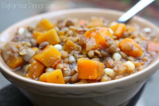 Slow Cooker Vegetarian Lentil Stew with Butternut Squash