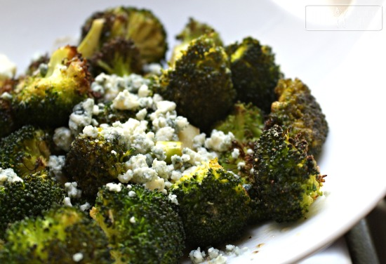 Roasted Broccoli with Mustard and Blue Cheese Dressing