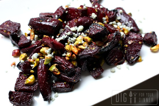 Roasted Beets Tossed in Balsamic Vinegar with Pistachios